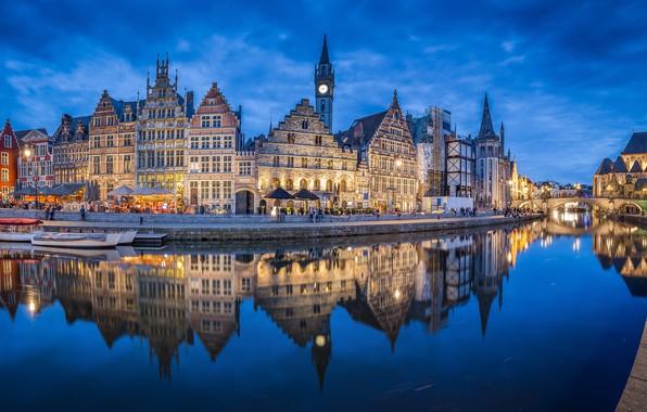 Picture reflection, river, building, home, Belgium, architecture, promenade, Belgium, Ghent, Ghent, Graslei, The River Leie, Leie …
