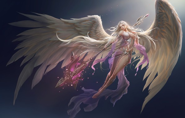 Picture girl, background, wings, angel, fortuna, league of angels