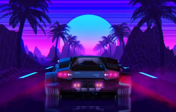 Wallpaper The Sun Lamborghini Background 80s Neon Countach Lamborghini Countach 80 S