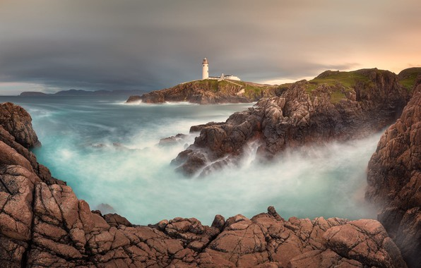 Picture landscape, the ocean, rocks, lighthouse, Bay, Ireland, harbour, Atlantic, Donegal, Donegal