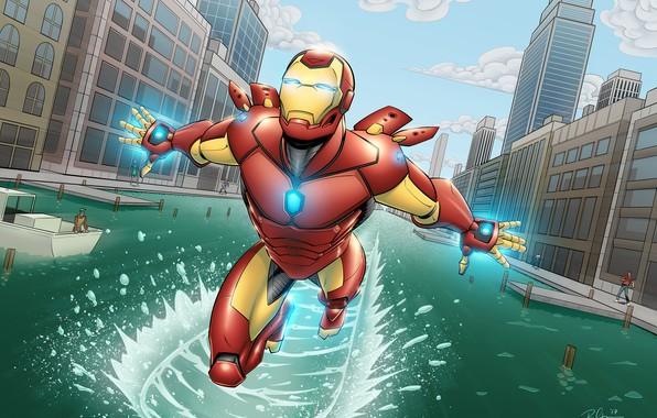 Picture City, Iron Man, Marvel, Comics, River, Tony Stark