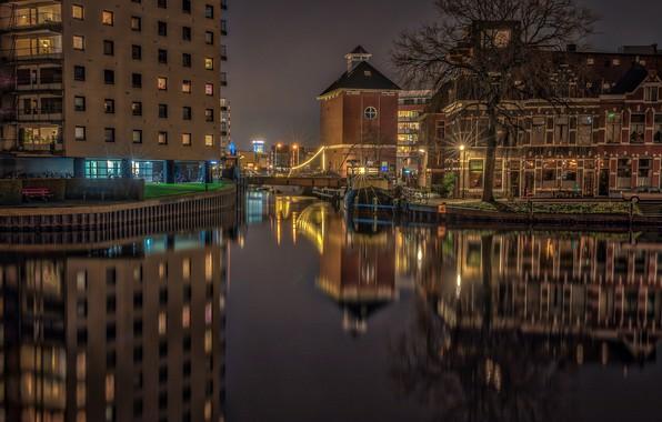 Picture water, night, bridge, lights, reflection, river, tree, home, lights, channel, Netherlands, Groningen