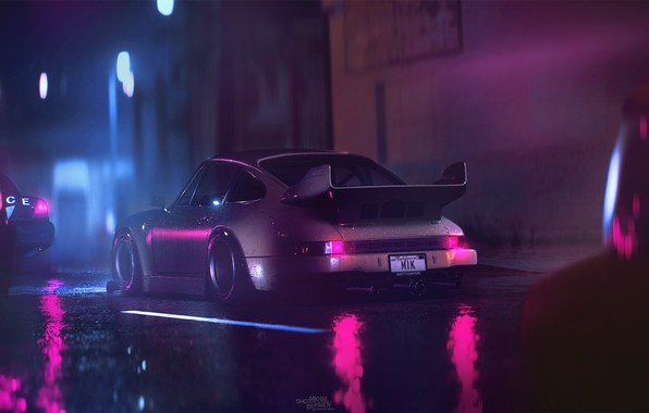 Picture Reflection, Auto, Night, 911, Porsche, Machine, Rain, Art, Porsche 911, Carrera, RSR, Synth, Game Art, …