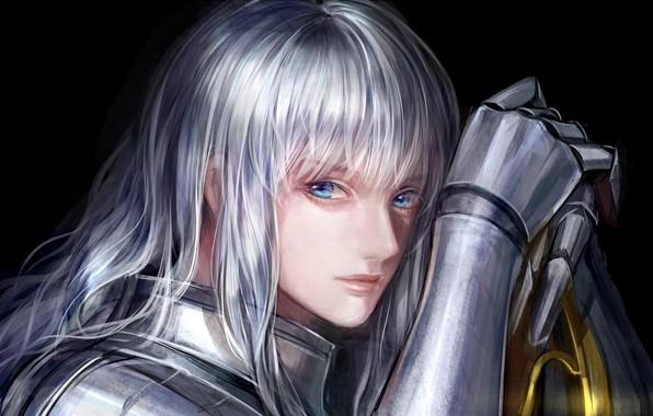 Picture face, armor, knight, blue eyes, Berserk, Berserker, knight, Griffith, long white hair