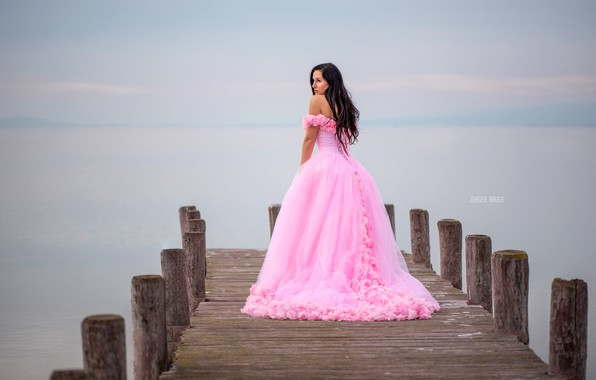Picture sea, girl, pose, hair, pier, dress, beautiful, Jurgen Bauer