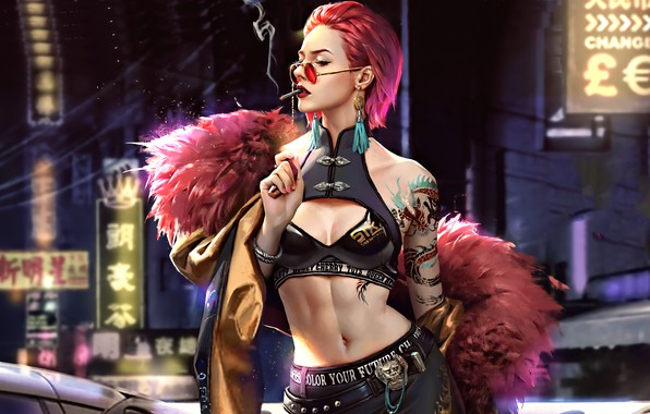 Picture girl, pink hair, art, tatoo, sun glasses