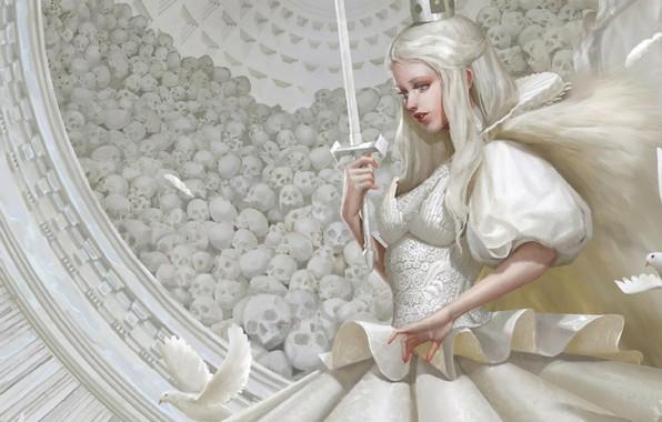 Picture sword, crown, skull, profile, white dress, art, white doves, White Queen, long white hair, Yu …
