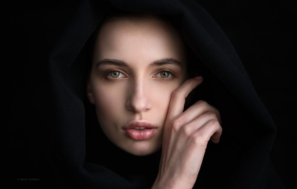 Picture girl, green eyes, photo, photographer, model, lips, face, portrait, hood, mouth, close up, simple background, …