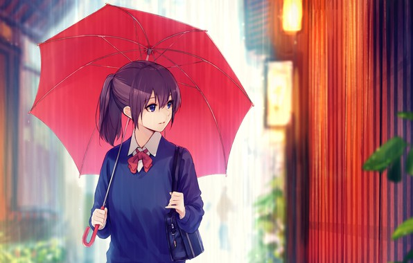 Picture the rain, the fence, schoolgirl, bag, on the street, red umbrella, under the umbrella