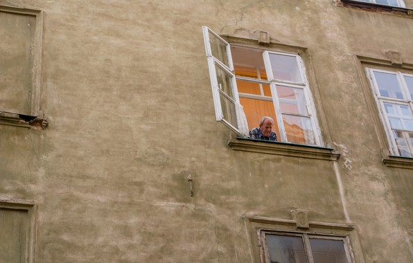 Picture Windows, grandfather, the old man, tourism, Ukraine, lions, from the window, architeccture