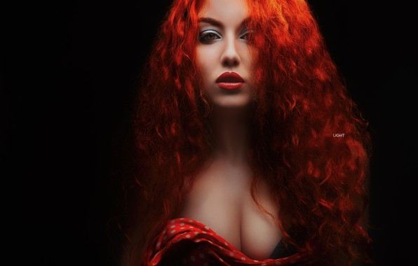 Picture chest, look, girl, face, hair, portrait, makeup, red, curls, redhead, the dark background, Alexander Drobkov-Light, …