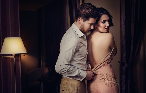Picture girl, room, back, dress, pair, male, lovers