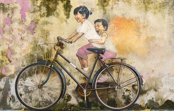 Picture bike, children, graffiti, wall painting