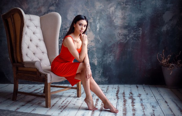 Picture look, sexy, pose, model, portrait, barefoot, makeup, figure, dress, brunette, hairstyle, legs, beauty, sitting, in …