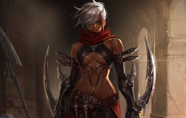 Picture Girl, Fantasy, Art, Style, Illustration, Weapon, Tattoo, Character, Daggers, Melee Weapons, Junq Jeon, Assassin of …