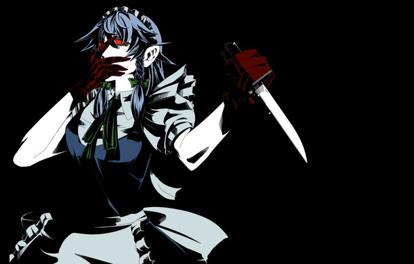 Picture monster, blade, red eyes, killer, the maid, in the dark, Izayoi Sakuya, with a knife, …