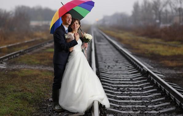 Picture umbrella, a couple, the bride, bokeh, the groom