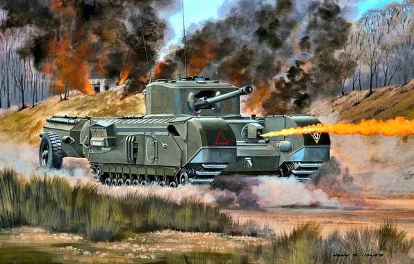 Picture tank, The second World war, Churchill, UK, Flamethrower, Churchill Crocodile