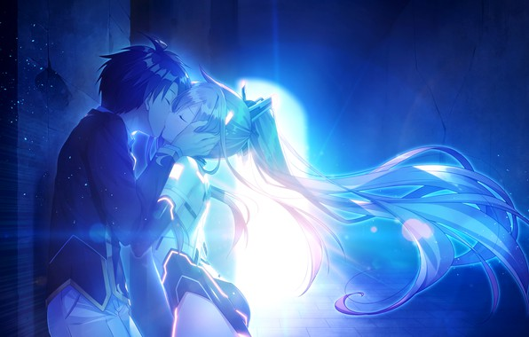 Picture girl, kiss, hairstyle, guy, tunnel, games, anime, art, The World's End Fallen Star