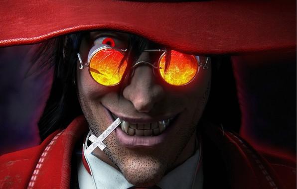 Picture smile, cross, glasses, vampire, Alucard, Hellsing, Hellsing, vampire, Alucard, Supreme vampire