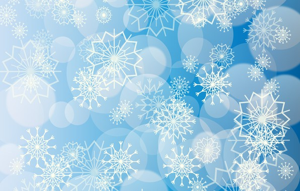 Picture snowflakes, patterns, blue background
