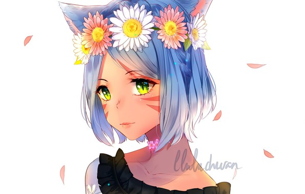 Picture face, petals, white background, wreath, blue hair, cat ears, neko girl, neko-Chan, lluluchwan