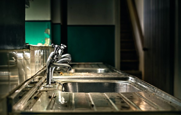 Picture metal, interior, sink, faucets