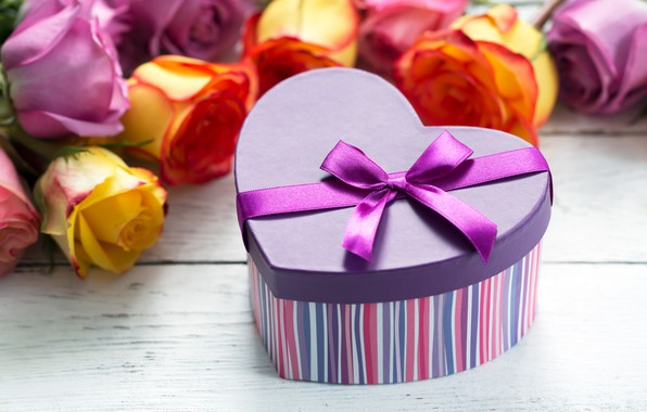Picture box, gift, roses, bouquet, tape, congratulations