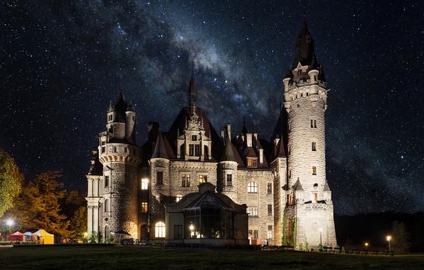 Picture the sky, landscape, night, stars, lighting, Poland, tower, architecture, the milky way, Posnanski castle, Moszna …