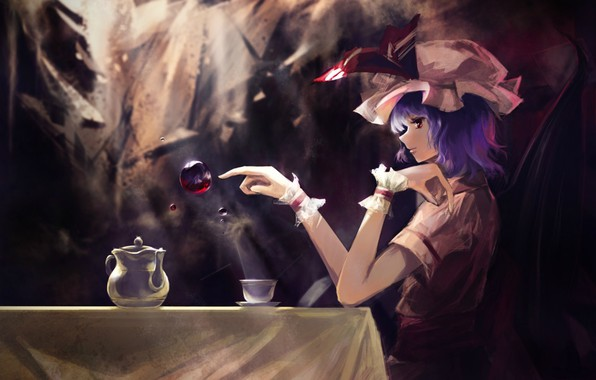 Picture red eyes, in the dark, vampire, Remilia Scarlet, black magic, a drop of blood, bat …