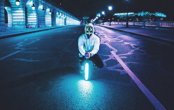 Picture night, street, people, lamp, neon, mask