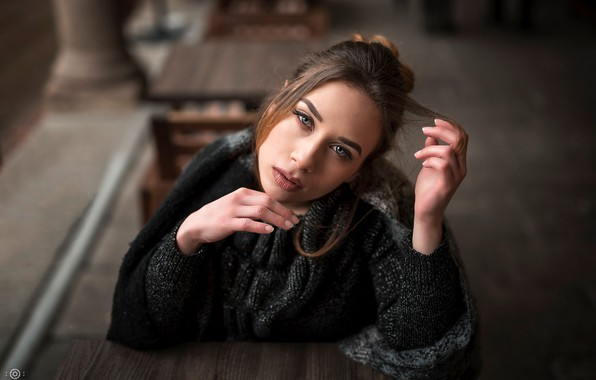 Picture look, pose, model, portrait, makeup, scarf, hairstyle, brown hair, beauty, jacket, sitting, bokeh, Simona, at …