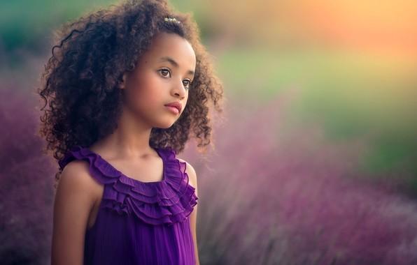 Picture field, summer, look, girl, mulatto, curls, child, lavender, Edie Layland