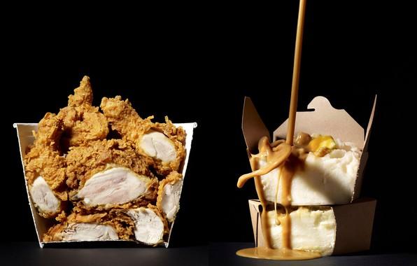 Picture photographer, sauce, photographer, sauce, puree, mashed potatoes, crispy. chicken, crispy. chicken, Beth galton