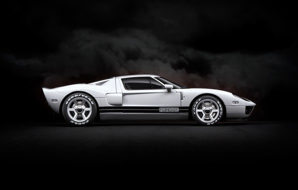 Picture white, background, art, Ford GT, sports car
