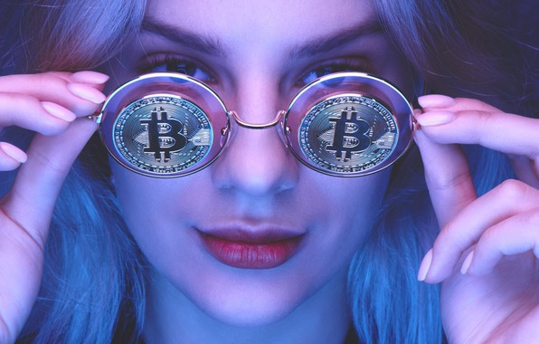Picture girl, glasses, coin, bitcoin