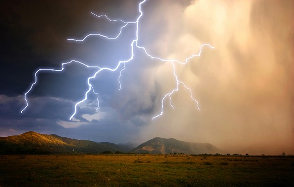 Picture the storm, the sky, mountains, clouds, lightning, plain