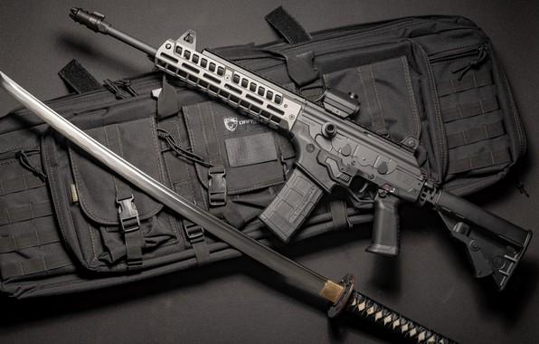 Picture weapons, sword, sword, Machine, Gun, weapon, custom, Katana, Custom, Assault rifle, Katana, Assault Rifle, Galil, …