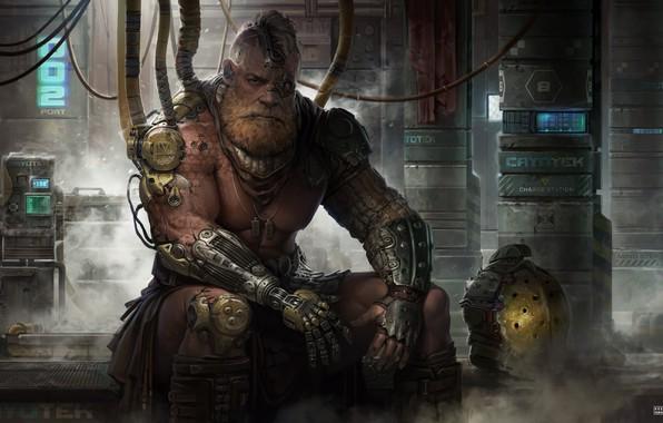 Picture look, fiction, male, beard, art, cyberpunk, Sci-Fi