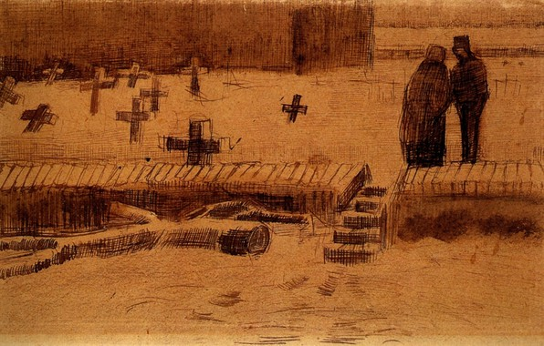 Picture crosses, cemetery, Vincent van Gogh, Churchyard in Winter 2