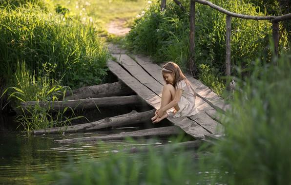Picture summer, river, girl, the bridge