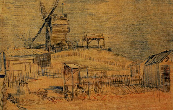 Picture Windmill, Vincent van Gogh, and the Blute-Fin, Gardens on Montmartre