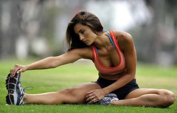 Picture girl, movement, beauty, grace, girl, athlete, stretching, on the grass, beauty, grace, exercise, exercise, athlete, …