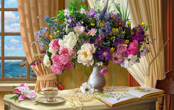 Picture flowers, table, tea, butterfly, bouquet, window, art, Cup, pearl, vase, curtains, painting, the room