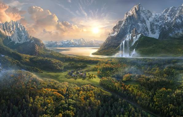 Picture mountains, lake, waterfall, valley, town, Olga Antonenko