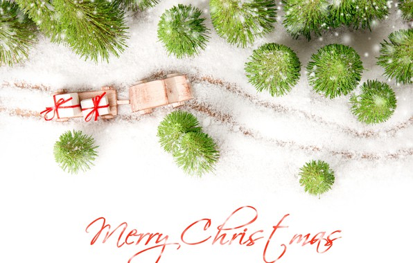 Picture photo, Winter, Snow, New year, The inscription, Gifts, Sleigh