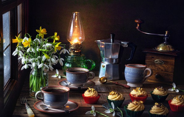 Picture flowers, style, lamp, coffee, bouquet, snowdrops, Cup, mugs, still life, daffodils, cupcakes, coffee maker, coffee …