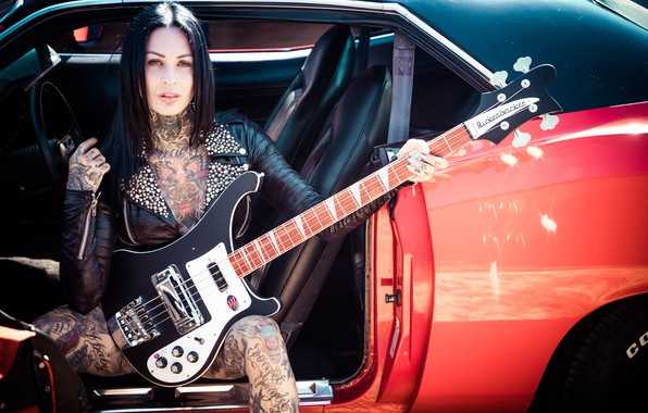 Picture girl, music, guitar, Femke Fatale, inkedgirl
