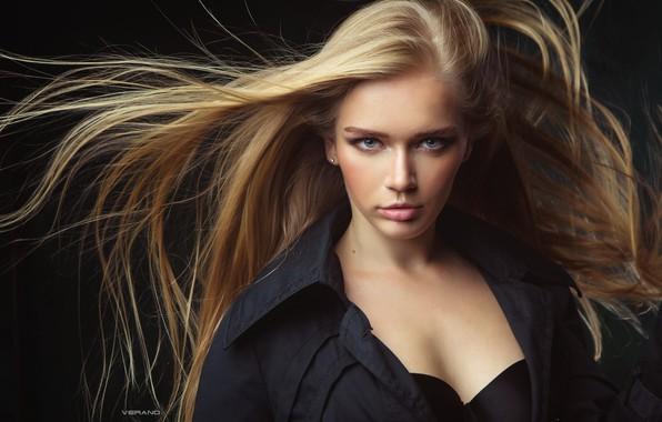Picture girl, bra, long hair, photo, photographer, blue eyes, model, lips, face, coat, blond, portrait, black …