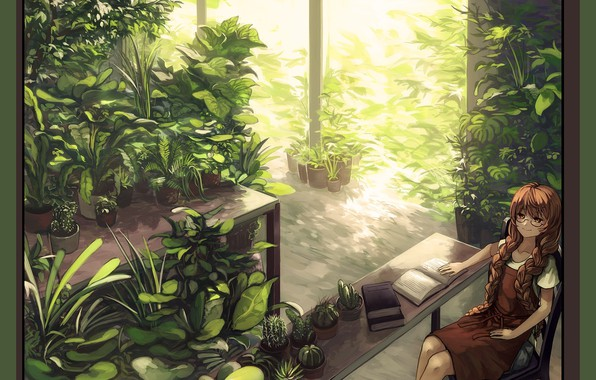 Picture table, stay, books, glasses, girl, cacti, red, art, greenhouse, green foliage, plants, Bernabeu